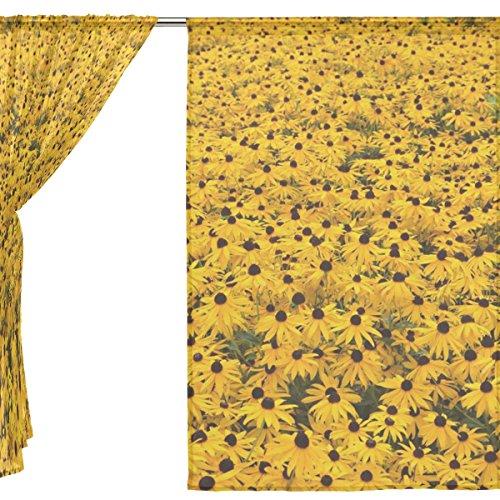 jstel 2pezzi Voile tenda di finestra, elegante Sun Flower, Tulle Sheer Curtain Drape Valance 139,7x 198,1cm Set di due pannelli, Poliestere, Blue, 55x78x2(in)