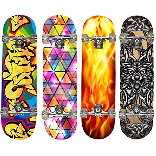 HANSSON.SPORTS Top Skateboard Komplett aus Ahornholz, Motiv: Wikinger