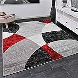 Vimoda Tapis Salon Chambre À Coucher Géométrique Motif à Cercles moucheté en Gris Blanc Noir et Rouge - ÖKO TEX certifié - Rouge, 160x220 cm