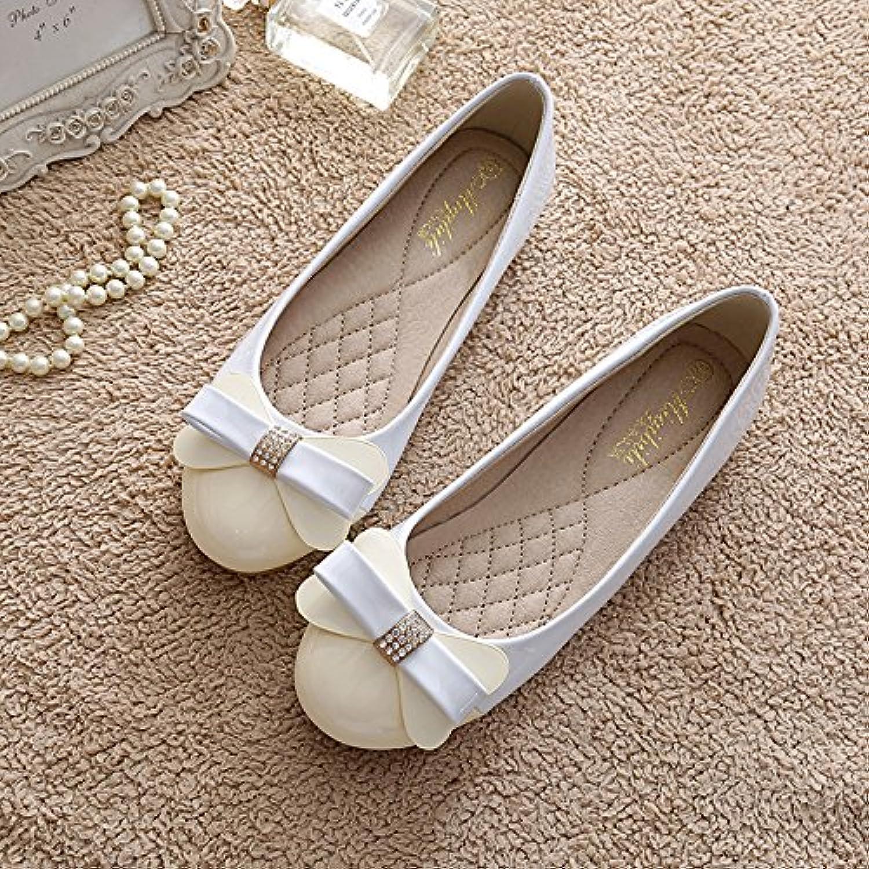 LGK&FA Zapata Única Mujer Cabeza Redonda del Fondo Plano Zapatos De Suela Suave 41 Blanco Gris