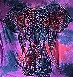 Wandteppich, Queen-Size, indischer lila Elefant, psychedelisches Mandala, Überwurf, Stil Hippie/Gypsy/Bohemian, Schlafzimmer-Dekoration, 100% Baumwolle, 233,7x 213,4cm