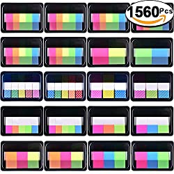 Siquk 1560 Pieces Pop-up Index Tabs Page Marker Sticky Neon Page Flags Tabs Polka Dots & Stripes Index Flag Tabs For Marking, 20 Sets