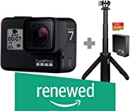 (Renewed) Go Pro Hero 7 Black with Shorty, SD Card and Rechargeable Battery