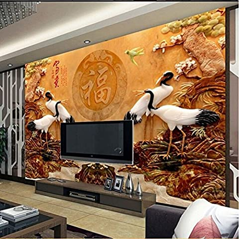 Lwcx Custom 3D Wallpaper Chinese Jade Carving Style Living Room Sofa Tv Background Wall 200X140CM