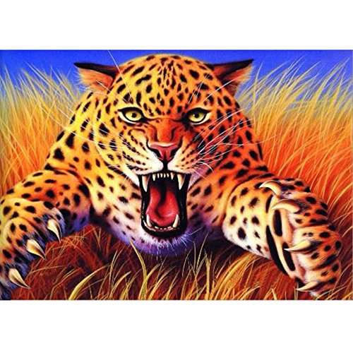 t-Malerei Nummer Kits Rund Strass Stickerei Kreuzstich Bilder Arts Craft Home Wand Decor 30,5 x 40,6 cm Brüllender Leopard ()
