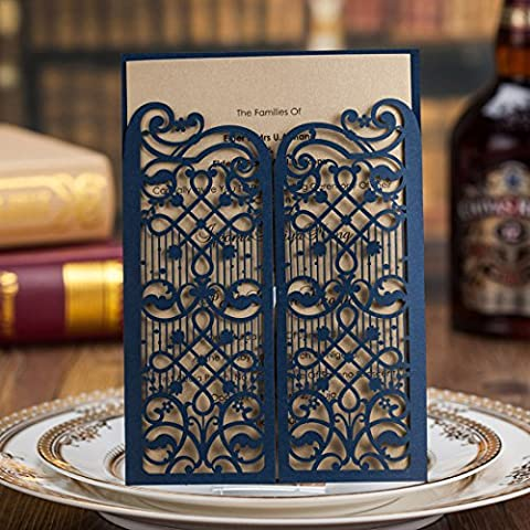 20PCS Wishmade Laser Cut Wedding Invitations Cards Blue Kits for Marriage Engagement for Bridal Shower Open Door Design Birthday Party Invitations Cardstock Favors with Envelopes Seals
