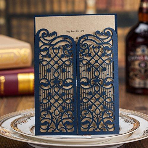 Einladungskarten Hochzeit Wishmade Blau Spitze Lasercut Design Blanko Set 20 Stücke Gratis Umschläge