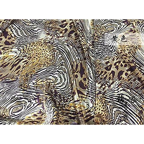 Nueva Impreso Seda de la emulación tela del paño pijamas hijo del vestido Inicio bufandas de tela - grano grande del leopardo / 100 * 120cm