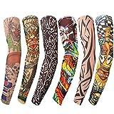 "Mangas tatuadas(6 piezas) - Mangas temporales falso tatuaje de nylon - Cuerpo Protector Solar de Arte Medias Accesorios,Tribal,Dragón,Calavera,amigos, halloween (Unisexo)- miden 45cm/17.7"" de largo"
