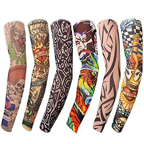 Tattoo sleeve (6 Stück) - Nylon Tattoo Ärmel Temporäre elastisch Arm Strümpfe - Sonne absorbiert schweiß,Tribale Designs, Fancy Dress und mehr (Unisex)- Länge von 45 cm/17.7