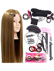 Neverland Training Head 24inch 50% Real Human Hair Cosmetology Hairdressing Mannequin Manikin Doll With Makeup Function + Braid Set + Clamp