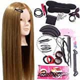 Neverland 24inch 50% Real Hair Training Head Hairdressing Mannequin Head With Makeup Function + Braid Set