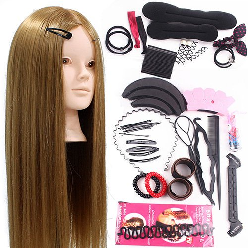 Neverland Training Head 24inch 50% Real Human Hair Cosmetology Hairdressing Mannequin Manikin Doll With Makeup Function + Braid Set + Free Clamp Test