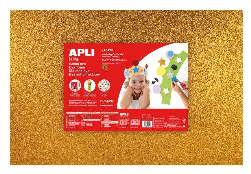 Apli Kids 13175 - Lámina de espuma (600 x 400mm, 3 unidades), acabado brillante, color dorado