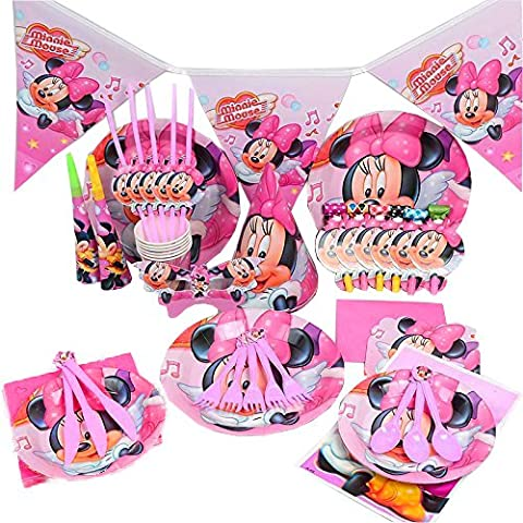 Disney's Minnie Mouse - Birthday Wedding Party Decoration Tableware Cartoon 15 Pack Kit by Trimming Shop (Pink)