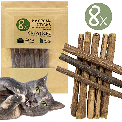 KaraLuna 8x Katzensticks mit Zufriedenheitsgarantie I Katzenspielzeug & Zahnpflege I Naturprodukt aus den Zweigen der Matatabi Pflanze