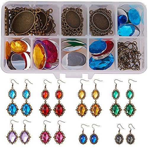 SUNNYCLUE 1 Box DIY 8 Paar Halloween Acryl Strass Cabochon Ohrringe Machen Starter Kits Cosplay Phantasie Prinzessin Vampir gehören Haken Cabochon Einstellungen Oval Glaskuppel Fliesen (Halloween Set 1-8 Box)
