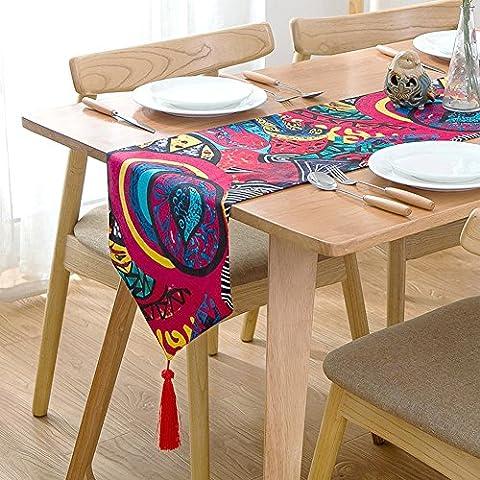 exotique Boho Style chemin de table avec Rouge pompons 30,5x
