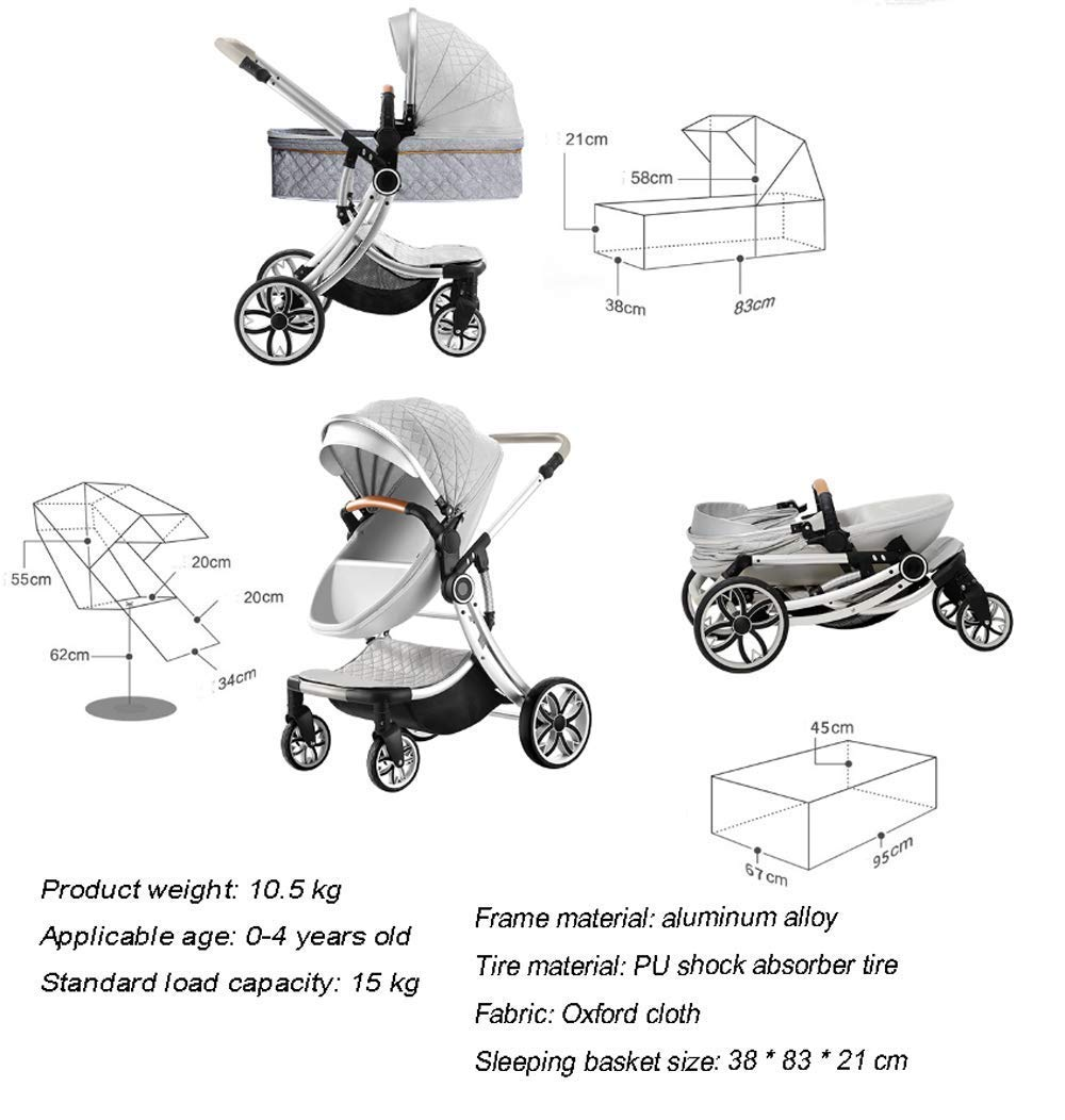 Two Way Fashion Strollers 2 in 1 Baby Pushchairs Newborn Prams Toddlers Bassinet Fold Reclining (Color : White) WSZLSD ◆Stylish dynamic egg-shaped baby stroller, PU leather eggshell seat, effectively protect baby's spine development, add hidden sleeping basket, adjustable handlebar and awning, large storage basket, Rotate the front wheel with a suspension spring, Fully adjustable 5-point harness. ◆Aluminum alloy frame has a good luster, It is lighter than iron (or steel, copper) and never rusts, so it can be used for a longer period of time ◆No need for inflatable rubber explosion-proof wheels, and can easily roll on all rough terrain, such as grass, gravel road, sidewalk, sand and so on,The front wheel has a shock absorber function to protect the baby's body, and the rear wheel has double brakes to ensure safe travel. 7