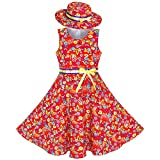 Sunny Fashion Robe Fille 2 des Morceaux Rouge Papillon Soleil Chapeau Arc Attacher Fleur 11-12 Ans