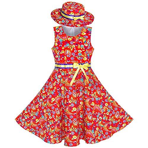 Mädchen Kleid 2 Stücke rot Schmetterling Sonne Hut Bogen Binden Blume Gr. 98-104 (Mädchen Hut Weihnachten)