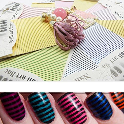 Born Pretty 9 Planches Nail Art Sticker de 0.8mm Ligne Droite et Ligne Ondulée Accessoires de Manucure 9 Couleurs