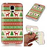 Galaxy S5 Hülle, Galaxy S5 Neo Hülle, Samsung Galaxy S5 / S5 Neo Xmas Case, BONROY Samsung Galaxy S5 / S5 Neo Silikon Hülle Tasche Handyhülle Weihnachtsthema [Weihnachtsmann, Elch] Schutzhülle Transparent TPU Gel Case Bumper Weiche Crystal Clear Tasche Hülle Case Cover Ultra Slim Kreative Schützende Clear Bumper Case Etui Schale Christmas Gift