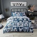 merryfeel perro impresión Digital 100% algodón funda nórdica Set, algodón, Blau/Grau, 135x200+80x80cm