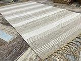 Second Nature Natürliche Baumwolle & Jute grau Off weiß gestreift Teppich 120cm x 180cm