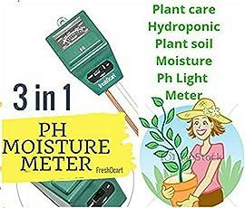 FreshDcart 3-in-1 Water Moisture Hydroponic Solar Care Plants Soil Sensor Ph Light Meter (FDC-06)