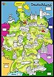 Kreul 38165 - BoMaBi XXl Ausmalposter Deutschlandkarte, Inklusive 6 Jumbofasermaler
