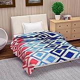 Reversible Microfibre Blanket/Quilt/Duvet/Comforter Light Easyweight, AC Single Dohar, Light Blue, Dark Blue & Red - Divine Casa