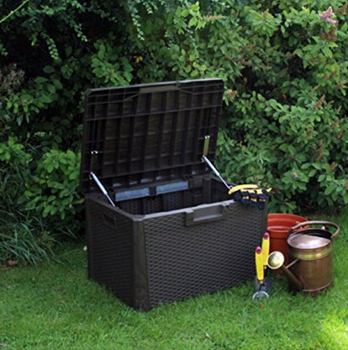 Rattan Effect 120 Litre Plastic Storage Box Garden Rattan Furniture