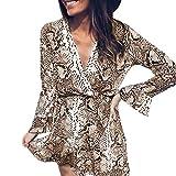 Oliviavan Damen Sexy V-Ausschnitt Serpentine Printed Maxikleid mit gekräuseltem Saum Abendkleid Elegant Partykleid Cocktailkleid Lautsprecher Hülsenkleid Herbstkleid