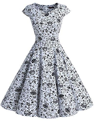 Dresstells Damen Vintage 50er Cap Sleeves Rockabilly Swing Kleider Retro Hepburn Stil Cocktailkleid White Skull S (Cap White Skull)
