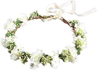 LUOEM Wedding Floral Headband Women Flower Head Wreath Bridesmaid Bridal Flowers Girls Hair Accessories (White)