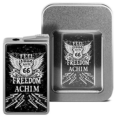 Feuerzeug mit Namen Achim - personalisiertes Gasfeuerzeug mit Design Route 66 - inkl. Metall-Geschenk-Box 14