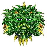 ImZauberwald Hanf Spirit Aufnäher (20cm, Schwarzlicht aktiv, handgestickt ohne PC) Regenbogen Patch Marihuana Weed Dope