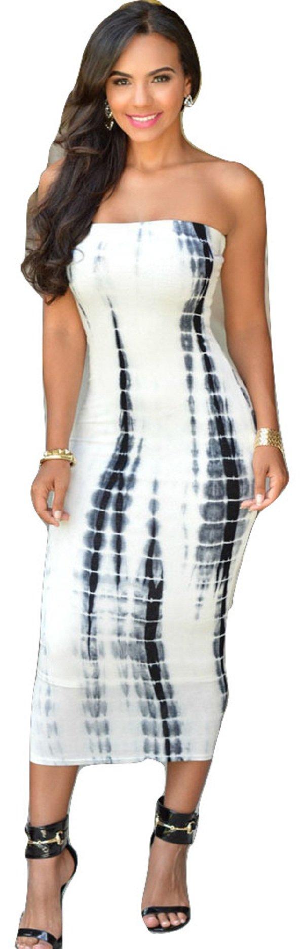Da donna, colore: Bianco & nero Tie Dye strapless Tube MIDI Dress Club Wear party ufficio festival