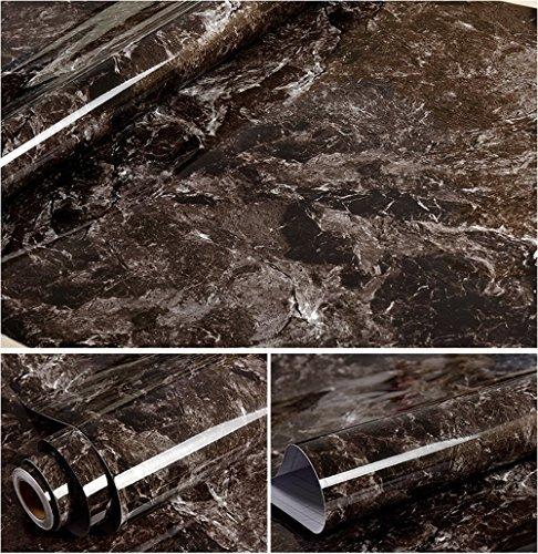 Autoadesivo in finto marmo marrone grana Contact Paper per armadietti da cucina controsoffitto Backsplash cassetto ripiano da parete progetti artigianato ( 60 x 300 cm )