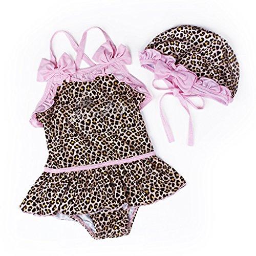 Kinder Badeanzug - SODIAL(R)Baby Kleinkind Maedchen niedlich Bademode Bikini Kinder Badeanzug Leopard (3T (80-90cm))