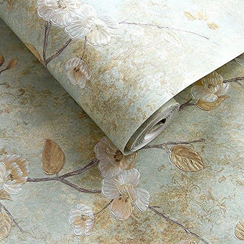 qia.gzhi... Wallpaper nicht 3D-drei-dimensionalen Druck gewebt Garten Schlafzimmer Wohnzimmer Sofa TV Hintergrund Tapete, Vintage Green, Hintergrundbild nur
