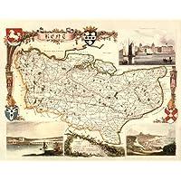Kent–mappa antica–card Backed–40,6x