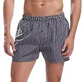 Hawiton Caleçons à Carreaux Homme 100% Coton Premium Ultra Doux et Confortable Boxer Homme Short en Coton Hommes sous-Vêtements Retro Shorts Pantalons
