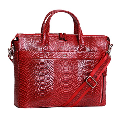 Aux femmes reel cuir Sac d'affaires la conception de crocodile portable sac à main NINA Rouge