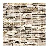 Bilderwelten Fliesenbild - Asian Stonewall - Steinmauer aus großen hellen Steinen - Fliesensticker Set, Fliesengröße: 20 cm x 20 cm, Größe HxB: 60cm x 60cm