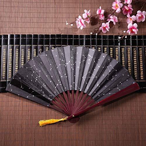 EIJODNL Faltfächer Kompakt Alle Zwölf Sternzeichen In Der Konstellation Mit Bambusrahmen Quaste Anhänger Und Stofftasche Bambus Handfächer Japanische Fächer Dekoration Chinesischer Fächer Bambus