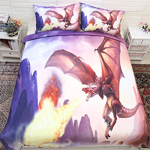 3 Bettbezug, bedruckt Sets Dragon Bettwäsche Sets Firedragon Bettwaren Cartoon Bettbezug und Kissenbezug, Polyester, Red& Black, King-220*240cm for 1.8M Bed