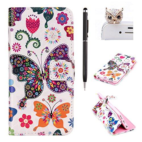 iPhone 6S plus Wallet Case, Felfy Ultra Slim Flip pour / Apple iPhone 6 plus / iPhone 6S plus 5,5 pouce / PU Leather Cuir Portefeuille Cover Etui Housse Coque Coquille / Relief Elegant Pink Rose Fleur papillon coloré