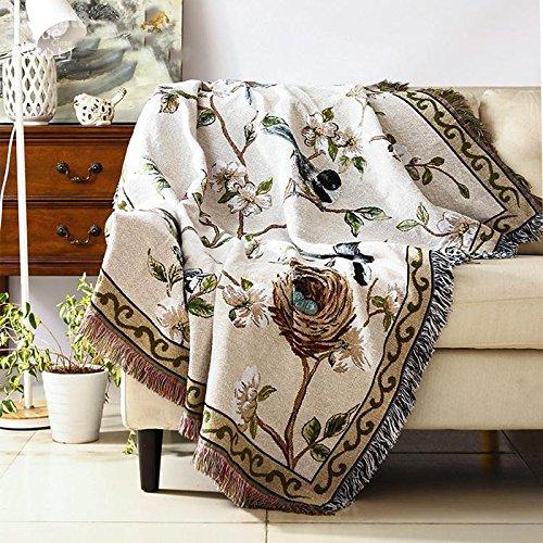 KOOCO Flores Aves borlas alfombras Kilim Sofá Toalla